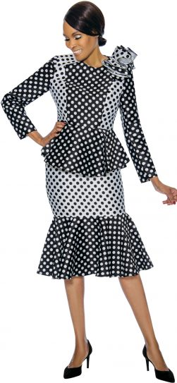 terramina, 7751, black-white skirt suit