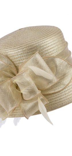giovanna, champagne hat, champagne satin ribbon hat, hm970