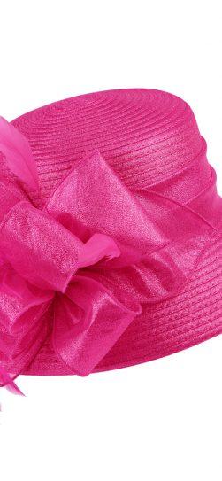 giovanna, fuchsia hat, fuchsia satin ribbon hat, hm970