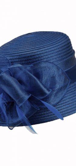 giovanna, navy hat, navy satin ribbon hat, hm970