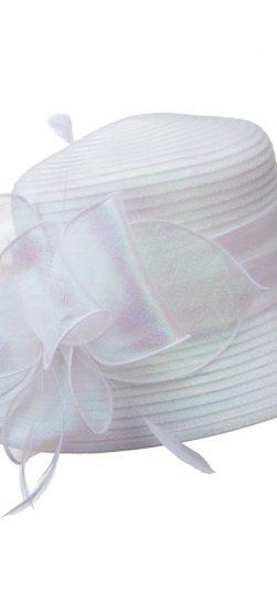 giovanna, white hat, white satin ribbon hat, hm970