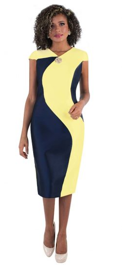 chancele,9516, yellow-navy summer dress.