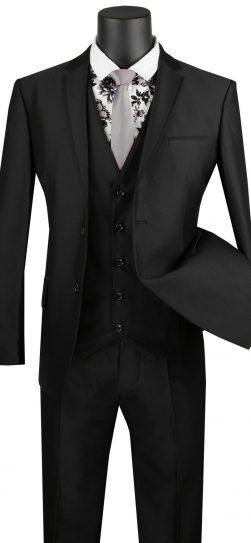 vinci, 3 piece black mens suit, usvd-2