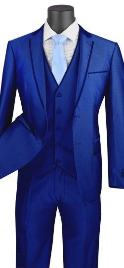vinci, 3 piece blue mens suit, usvd-2