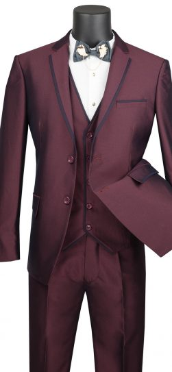 vinci, 3 piece burgundy mens suit, usvd-2