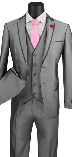 vinci, 3 piece grey mens suit, usvd-2-gr