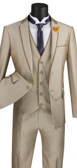 vinci, tan mens 3 piece suit, tan wool suit, usvd-2