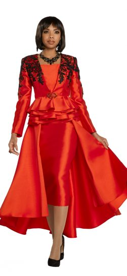donnavinci, 11738, red-black skirt suit