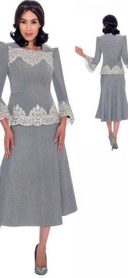 devine sport, ds62132, silver denim skirt suit