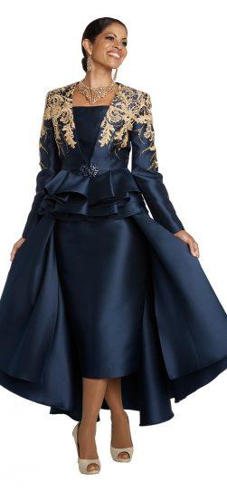 donnavinci, 11738, navy-gold church suit