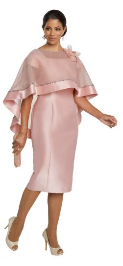 Donnavinci,11783, pink cape dress