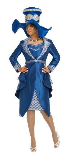 Donnavinci, 5637, royal skirt suit, royal church suit