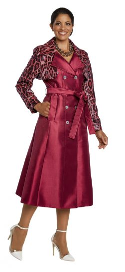 donnavinci, burgundy coat dress