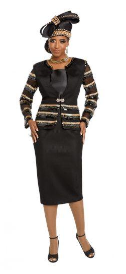donnavinci, 5645, black-gold dressy skirt Sui