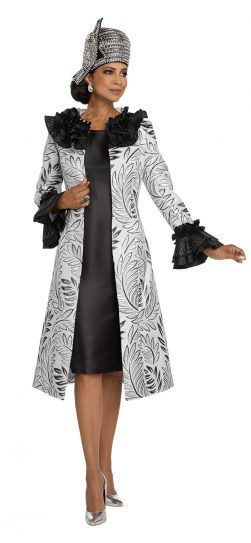 donnavinci, 5660, silver and black jacket dress
