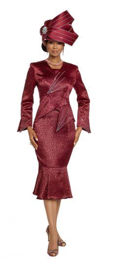 donna vinci, 5663, dressy burgundy skirt suit
