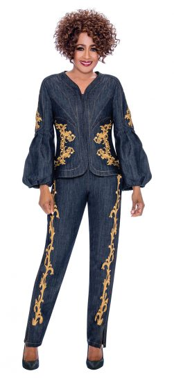 Dorinda clark-come, pant suit, dressy denim pant suit