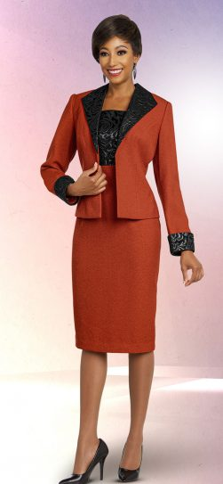 benmarc executive,11833, burnt orange skirt suit