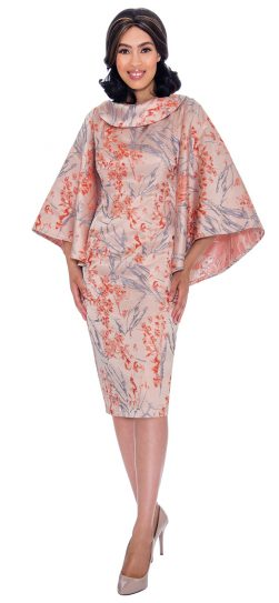 Nubiano, dn2871, orange print church dress, up to size 26W