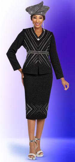 benmarc, 48252, black knit skirt suit