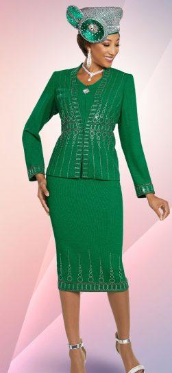 benmarc, 48253, kelly green knit skirt suit