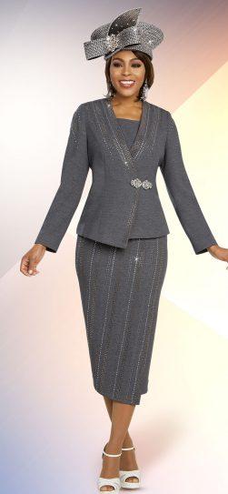 benmarc, 48255, charcoal knit skirt suit