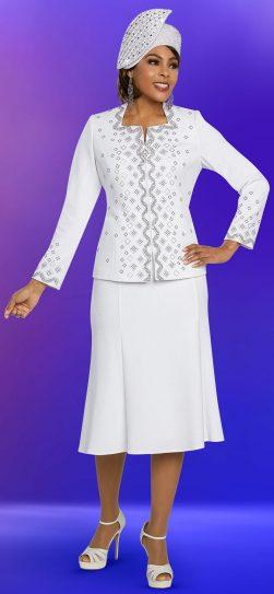 benmarc, 48256, white knit skirt suit