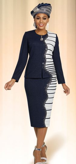 benmarc, knit skirt suit, 48257, navy knit skirt suit