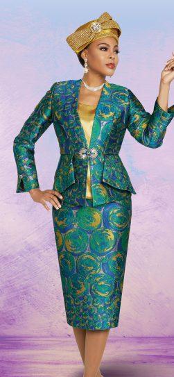 benmarc, 48267, green print skirt suit