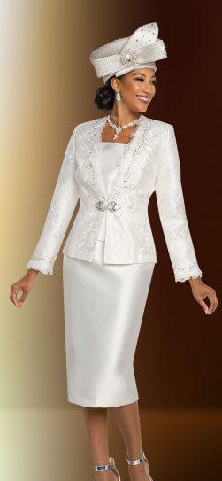 benmarc, 48270 winter white skirt suit