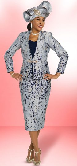 benmarc, 48275, silver-navy skirt suit