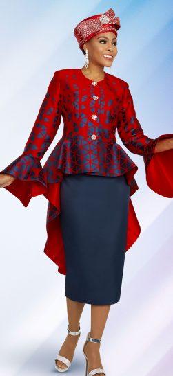 benmarc, 48279, red-navy skirt suit