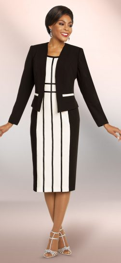 benmarc executive, 11814, Black-white stripe jacket dress
