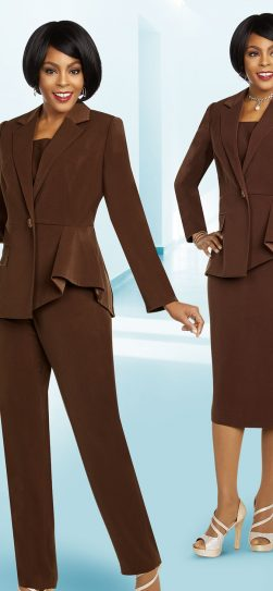 benmarc executive pant suit, chocolate pant suit