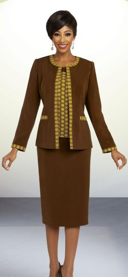 benmarc executive,11830, brown skirt suit