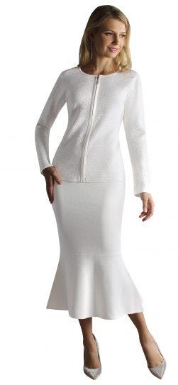 kayla, 5209, white knit skirt suit