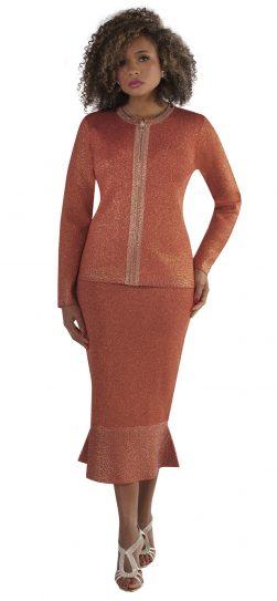 kayla, 5216, red-gold knit skirt suit