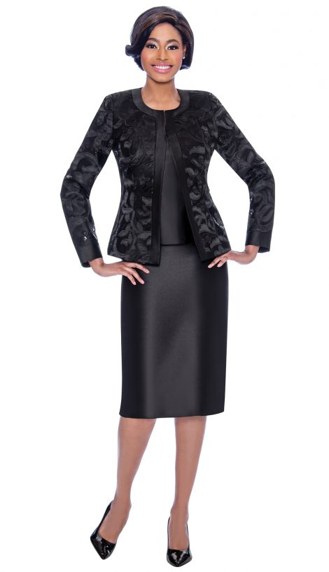 susanna, 3923, dressy black skirt suit