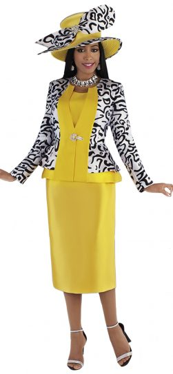 tally taylor, 4695, yellow skirt suit