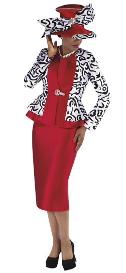 tally taylor, 4695, red skirt suit