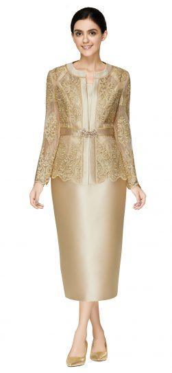nina massini,2586, dressy gold skirt suit