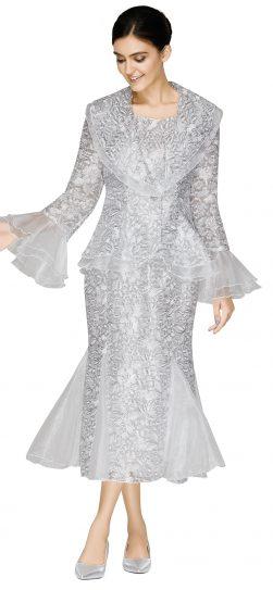 nina massini,3008, silver skirt suit, dressy silver church suit
