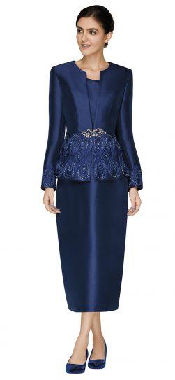 nina massini,3010, navy skirt suit