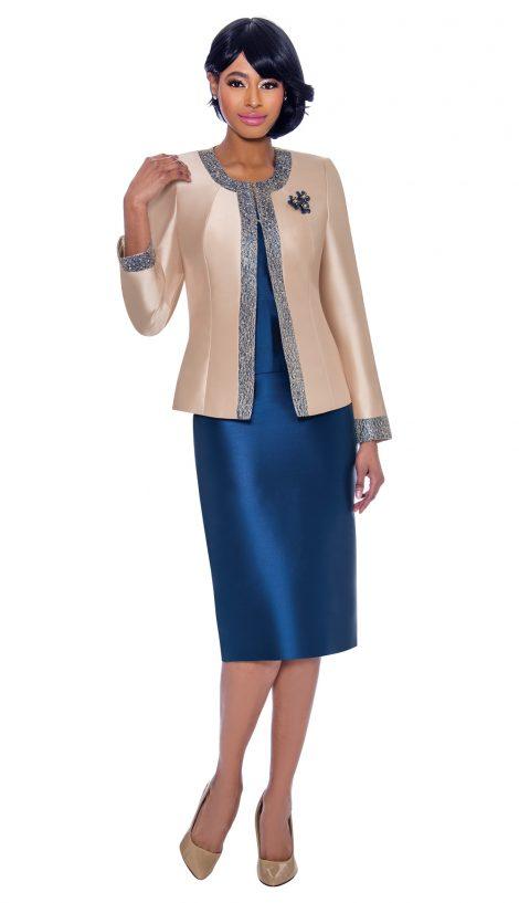 terramina, 7637, navy-champagne skirt suit