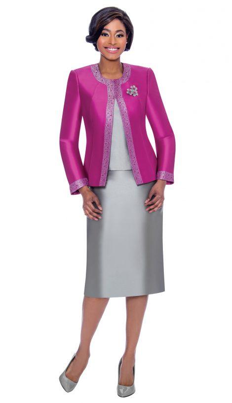 terramina, 7637, silver-fuchsia skirt suit