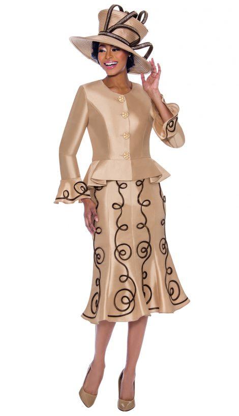 terramina, skirt suit, 7784, champagne church suit