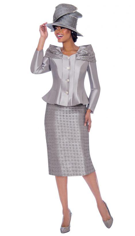 terramina, 7792, dressy silver skirt suit