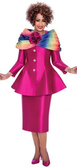 Dorinda clark Cole, dcc2443, fuchsia skirt suit
