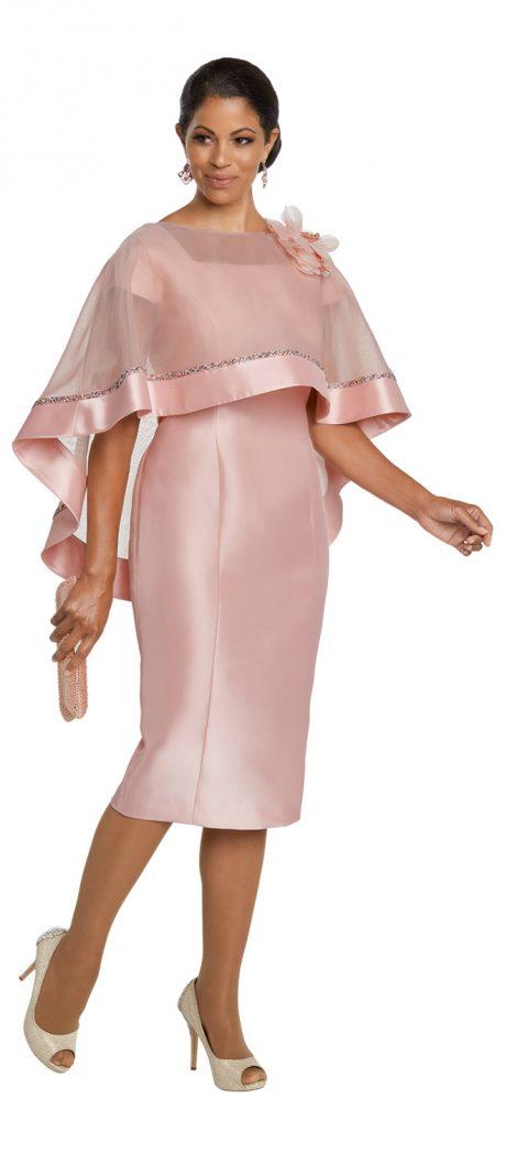 Donnavinci,11783, pink cape dress