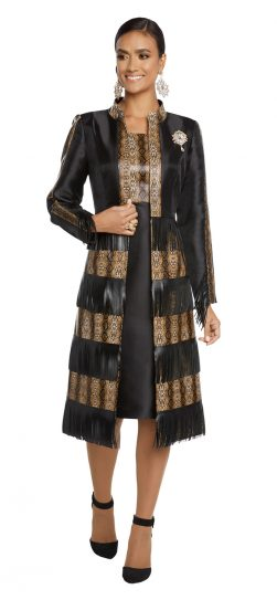 donnavinci, 5635, jacket dress, black-gold jacket dress